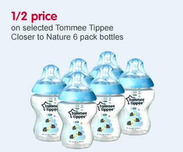 1/2 price on Tommee Tippee 6 pack bottles