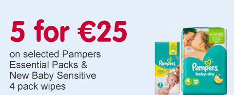 5 for 25 Euros on selected Pampers Essential Packs